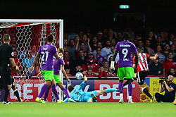 Henrik Dalsgaard of Brentford hits the post - Mandatory by-line: Dougie Allward/JMP - 15/08/2017 - FOOTBALL - Griffin Park - Brentford, England - Brentford v Bristol City - Sky Bet Championship