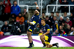 Apisai Naqalevu of ASM Clermont Auvergne and Wesley Fofana of ASM Clermont Auvergne celebrate victory over La Rochelle in the European Rugby Challenge Cup Final - Mandatory by-line: Robbie Stephenson/JMP - 10/05/2019 - RUGBY - St James' Park - Newcastle, England - ASM Clermont Auvergne v La Rochelle - European Rugby Challenge Cup Final