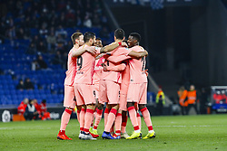 December 8, 2018 - Barcelona, Catalonia, Spain - FC Barcelona forward Lionel Messi (10) with his teammates of FC Barcelona celebrates after scoring the goal during the match RCD Espanyol against FC Barcelona, for the round 15 of the Liga Santander, played at RCD Espanyol Stadium  on 8th December 2018 in Barcelona, Spain. (Credit Image: © Mikel Trigueros/NurPhoto via ZUMA Press)