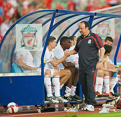 OSLO, NORWAY - Wednesday, August 5, 2009: Liverpool's manager Rafael Benitez and captain Steven Gerrard MBE shake hands after a preseason match against FC Lyn Oslo at the Bislett Stadion. (Pic by David Rawcliffe/Propaganda)