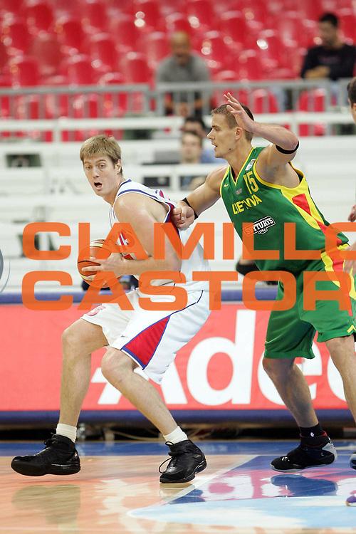 DESCRIZIONE : Belgrado Belgrade Eurobasket Men 2005 Lituania-Russia<br /> GIOCATORE : Savrasenko<br /> SQUADRA : Russia<br /> EVENTO : Eurobasket Men 2005 Campionati Europei Uomini 2005<br /> GARA : Lituania Russia Lithuania Russia<br /> DATA : 23/09/2005<br /> CATEGORIA :<br /> SPORT : Pallacanestro<br /> AUTORE : Ciamillo&amp;Castoria/Fiba Europe Pool
