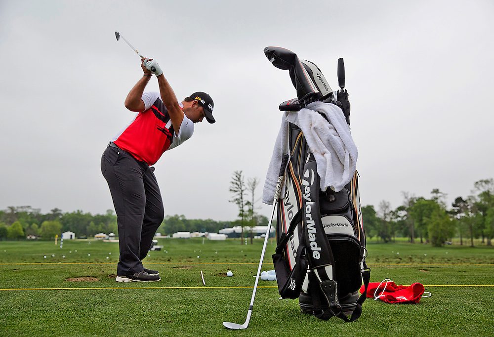 PGA golfer Rafael Campos on the driving range at the Golf Club of Houston on Tuesday, March 29, 2016 in Humble, TX. (Photo: Thomas B. Shea/For the Chronicle)