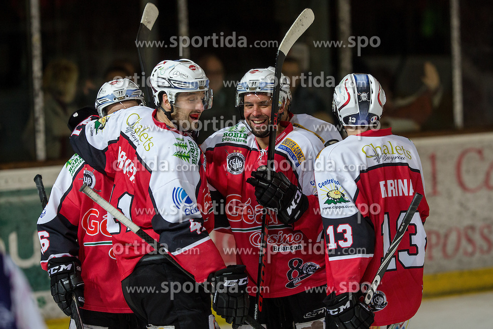 Players of HC Briancon celebrate after scoring a goal during Ligue Mganus ice-hockey match between HC Briancon and IC Epinal on January 19, 2014 in Patinoire Rene Froger Arena, Briancon, France. Photo by Matic Klansek Velej / Sportida.com