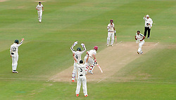 Nottinghamshire's Samit Patel celebrates the wicket of Somerset's Jim Allenby. - Photo mandatory by-line: Harry Trump/JMP - Mobile: 07966 386802 - 17/06/15 - SPORT - CRICKET - LVCC County Championship - Division One - Day Four - Somerset v Nottinghamshire - The County Ground, Taunton, England.
