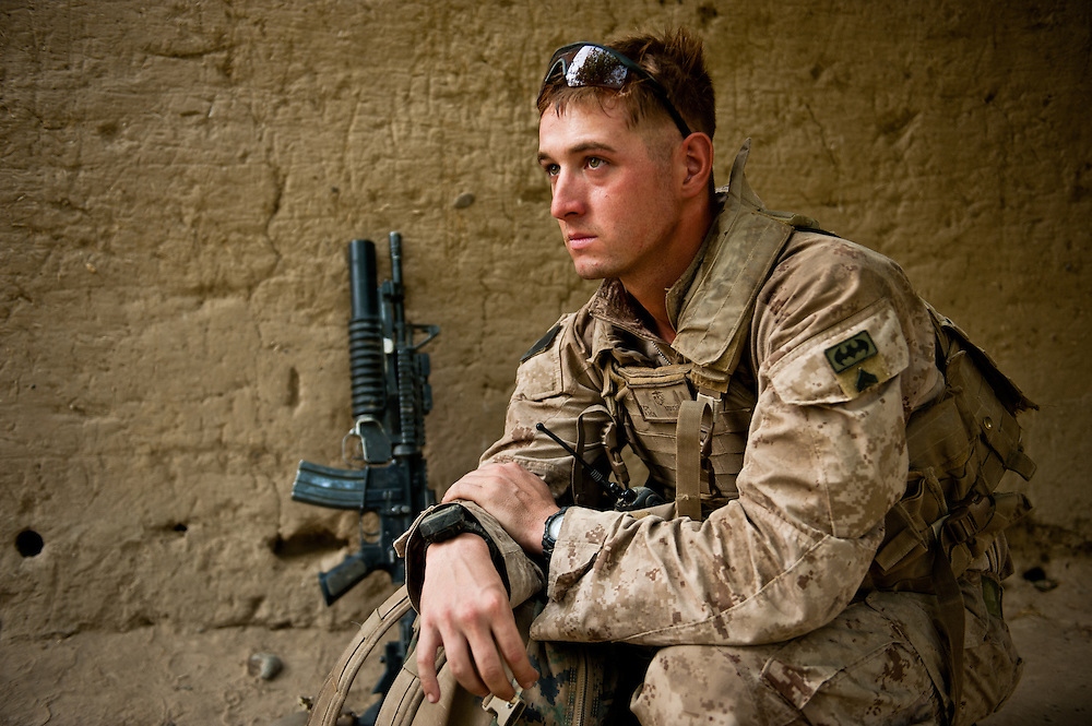 Corporal Michael Minor, 25, from Sea Grove, North Carolina, during a patrol halt.