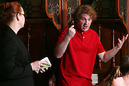 "Tamra Francis as Lillian Acumen (left) and Ben Fox as Laran Steel during Mayhem & Mystery's production of ""Bumbling Burglary"" at the Spaghetti Warehouse in downtown Dayton, Monday, May 6, 2013."