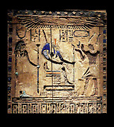 Darius dressed as Pharaoh of Egypt.  This wooden door shows Darius 1 (521-486) dressed as pharaoh on the right.