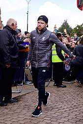 LONDON, ENGLAND - Sunday, March 17, 2019: Liverpool's Alberto Moreno arrives before the FA Premier League match between Fulham FC and Liverpool FC at Craven Cottage. (Pic by David Rawcliffe/Propaganda)