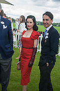 DITA VON TEESE; FRANCOIS LE TROQUER; , Cartier Queen's Cup. Guards Polo Club, Windsor Great Park. 17 June 2012