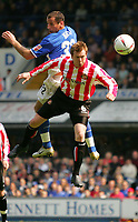 Fotball<br /> England 2004/2005<br /> Foto: SBI/Digitalsport<br /> NORWAY ONLY<br /> <br /> Ipswich Town v Sunderland<br /> <br /> The Coca-Cola Football League Championship. Portman Road.<br /> 17/04/05<br /> <br /> Ipswich's Shefki Kuqi and Sunderlands Stephen Caldwell head the ball.