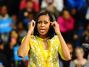 LAURA FONG | First Lady Michelle Obama greets a crowd of 2,000 at Cuyahoga Community College in Cleveland. Mrs. Obama talked about job creation, taking care of veterans, affordable healthcare, and a woman's right to choose.