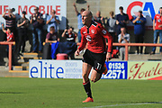 Kevin Ellison of Morecambe sprints away after scoring during the EFL Sky Bet League 2 match between Morecambe and Newport County at the Globe Arena, Morecambe, England on 16 September 2017. Photo by Mick Haynes.