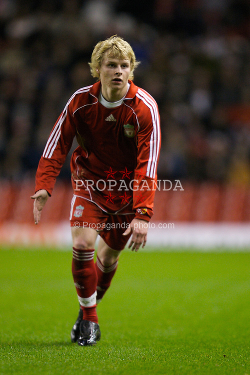 LIVERPOOL, ENGLAND - Tuesday, January 29, 2008: Liverpool's Gary Mackay-Steven in action against Arsenal during the FA Youth Cup 4th Round match at Anfield. (Photo by David Rawcliffe/Propaganda)