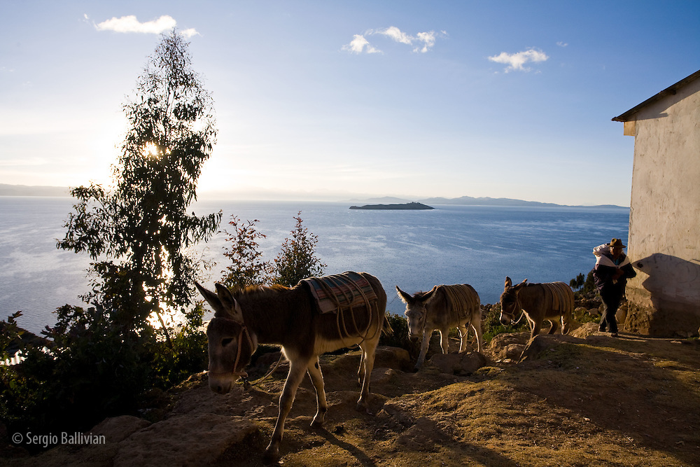 People doing chores on the Island of the Sun at sunrise on Lake Titicaca, Bolivia.