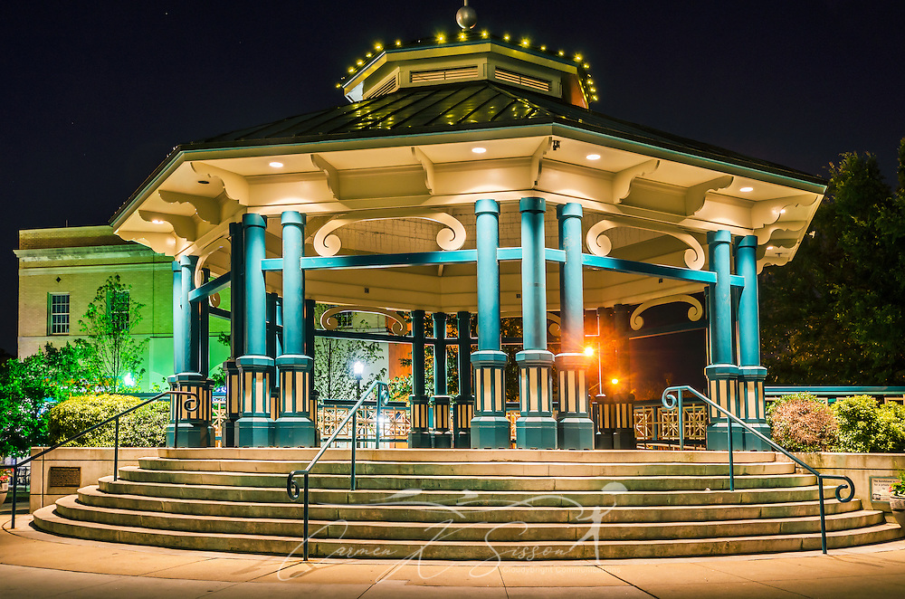 The Decatur Square gazebo and bandstand is pictured at night, June 4, 2014, in Decatur, Georgia. Decatur had a population of 19,335 at the 2010 Census and is a suburb of Atlanta. (Photo by Carmen K. Sisson/Cloudybright)
