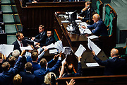 Warsaw, Poland. Parliament opposition tries to delay work on final bill by calling for over 1000 amendments to the speaker.  Photo: Krystian Maj