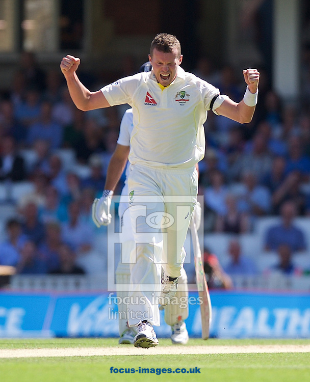 Bowler Peter Siddle of Australia celebrates taking the wicket of Adam Lyth of England during the 5th Investec Ashes Test Match match at the Kia Oval, London<br /> Picture by Alan Stanford/Focus Images Ltd +44 7915 056117<br /> 22/08/2015