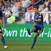 Shea Salinas, (right), San Jose Earthquakes, takes a free kick watched by team mate Sam Cronin, (left),  during the New York Red Bulls Vs San Jose Earthquakes, Major League Soccer regular season match at Red Bull Arena, Harrison, New Jersey. USA. 19th July 2014. Photo Tim Clayton