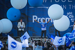 Anthony Knockaert of Brighton & Hove Albion comes on stage celebrating with the crowd - Mandatory by-line: Jason Brown/JMP - 14/05/17 - FOOTBALL - Brighton and Hove Albion, Sky Bet Championship 2017 - Brighton and Hove Albion Promotion Parade