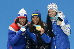 February 10, 2018 - Pyeongchang, South Korea - MARIT BJOERGEN of Norway (left, silver medal), CHARLOTTE KALLA of Sweeden (center, gold) and KRISTA PARMAKOKI of Finland ( bronze) pose with their medals on the podium with their medals for the 7.5km + 7.5km Skiathlon event in the PyeongChang Olympic games. (Credit Image: © Christopher Levy via ZUMA Wire)