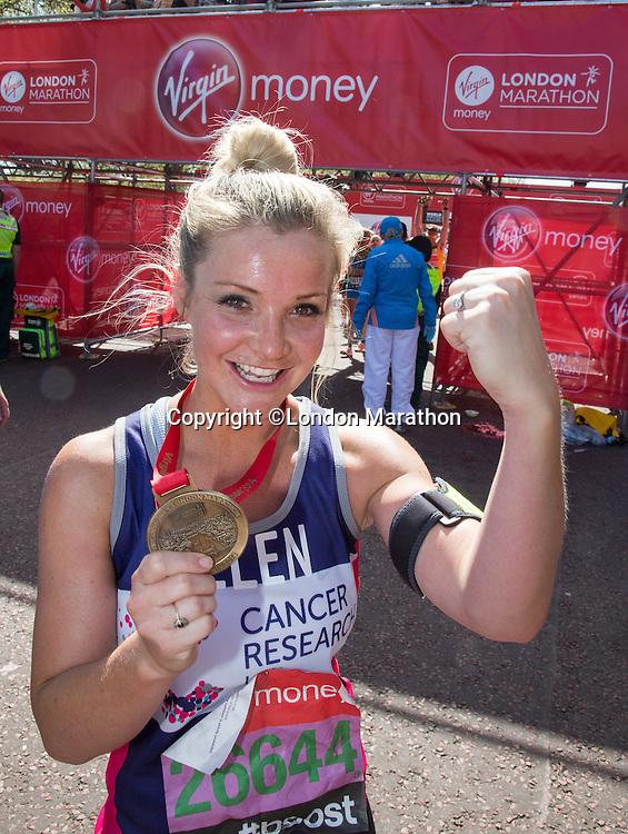 Helen Skelton-Myler, TV presenter Holiday Hit Squad (ex Blue Peter) at the end of the Virgin Money London Marathon 2014 on Sunday 13 April 2014<br /> Photo: Roger Allan/Virgin Money London Marathon<br /> media@london-marathon.co.uk