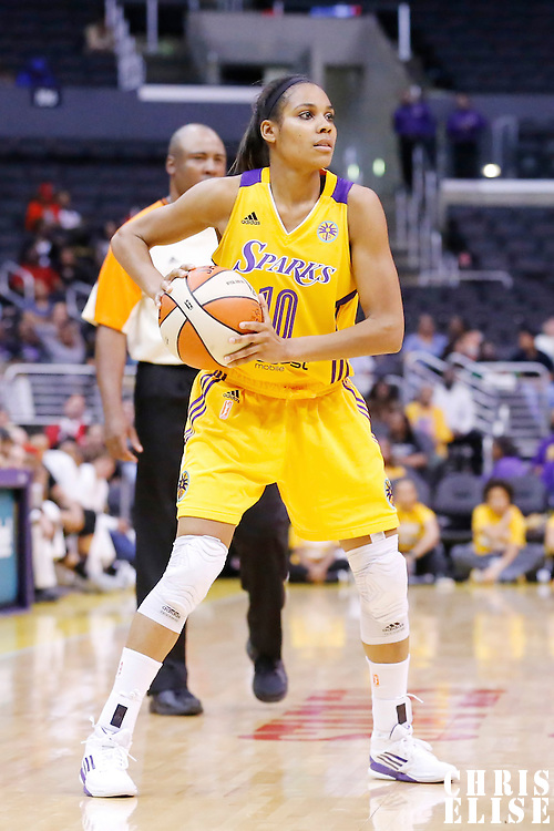 25 May 2014: Los Angeles Sparks guard Lindsey Harding (10) looks to pass the ball during the Los Angeles Sparks 83-62 victory over the San Antonio Stars, at the Staples Center, Los Angeles, California, USA.