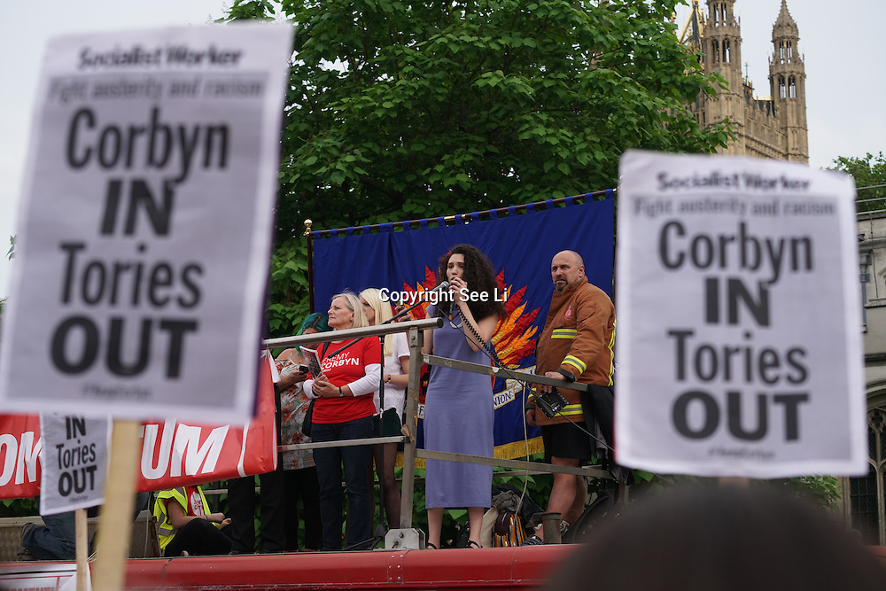 London,England,UK : 27th June 2016 : Speaker Malia Bouattia elected NUS President addresses the crowd KeepCorbyn protest against coup and Build our movement  at Parliament Square, London,UK. photo by See Li