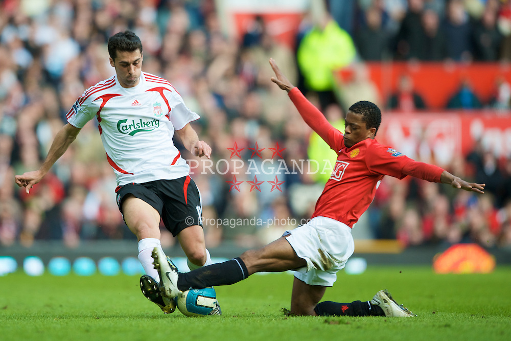 MANCHESTER, ENGLAND - Sunday, March 23, 2008: Liverpool's Alvaro Arbeloa and Manchester United's Patrice Evra during the Premiership match at Old Trafford. (Photo by David Rawcliffe/Propaganda)