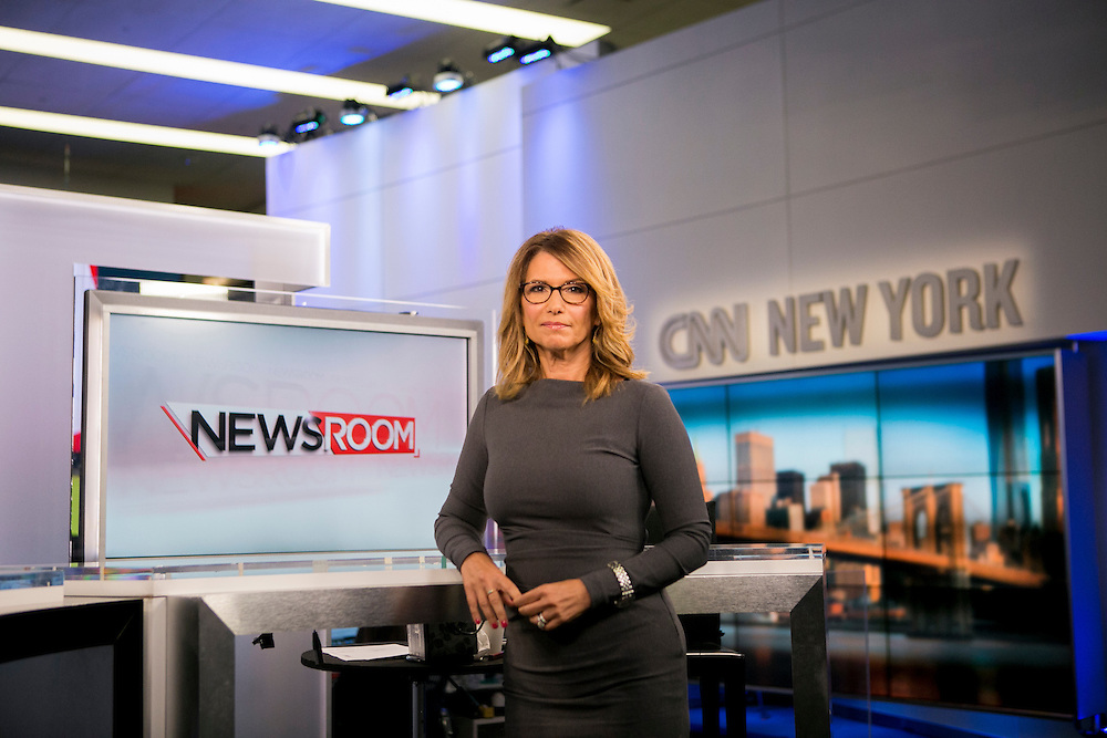 "NEW YORK, NY - AUGUST 5, 2016: CNN Anchor Carol Costello poses for a portrait on the set of CNN's ""Newsroom"" program in New York, New York. CREDIT: Sam Hodgson for The New York Times."