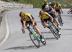 30.05.2019, Santa Maria di Sala, ITA, Giro d Italia 2019, 18. Etappe, Valdaora, Olang - Santa Maria di Salaz (222 km), im Bild v.l. Tom Leezer (NED, Team Jumbo Visma), Primoz Roglic (SLO, Team Jumbo-Visma), Nico Denz (GER, AG2R La Mondiale)/ DENZ // f.l. Tom Leezer of the Netherlands (Team Jumbo Visma) Primoz Roglic of Slovenia (Team Jumbo-Visma) Nico Denz of Germany (AG2R La Mondiale) during stage 18 of the 102nd Giro d'Italia cycling race from Valdaora, Olang - Santa Maria di Sala(222 km) Santa Maria di Sala, Italy on 2019/05/30. EXPA Pictures © 2019, PhotoCredit: EXPA/ Reinhard Eisenbauer