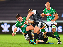 Sebastian Negri of Benetton Treviso is tackled by Scott Otten of Ospreys<br /> <br /> Photographer Craig Thomas/Replay Images<br /> <br /> Guinness PRO14 Round 4 - Ospreys v Benetton Treviso - Saturday 22nd September 2018 - Liberty Stadium - Swansea<br /> <br /> World Copyright © Replay Images . All rights reserved. info@replayimages.co.uk - http://replayimages.co.uk