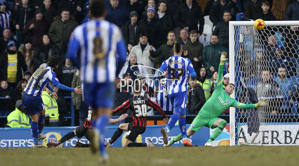 Atdhe Nuhiu, Sheffield Wednesday striker misses the best chance of the game during the Sky Bet Championship match between Sheffield Wednesday and Brighton and Hove Albion at Hillsborough, Sheffield, England on 14 February 2015.