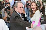 "CANNES, FRANCE - MAY 18:  Tommy Lee Jones and Hilary Swank attend ""The Homesman"" photocall at the 67th Annual Cannes Film Festival on May 18, 2014 in Cannes, France.  (Photo by Tony Barson/FilmMagic)"