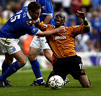 Picture: Henry Browne.<br /> Date: 25/04/2004.<br /> Birmingham City v Wolverhampton Wanderers FA Barclaycard Premiership.<br /> <br /> Henri Camara appeals after being fouled by City's Matthew Upson.