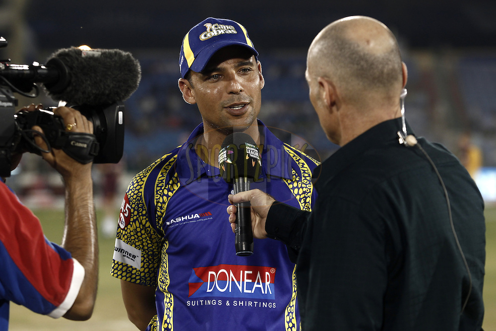 Justin Ontong captain of Cape Cobras talk with Tv crew before match 3 of the Oppo Champions League Twenty20 between the Cape Cobras and the Northern Knights held at the Chhattisgarh International Cricket Stadium, Raipur, India on the 19th September 2014<br /> <br /> Photo by:  Deepak Malik / Sportzpics/ CLT20<br /> <br /> <br /> Image use is subject to the terms and conditions as laid out by the BCCI/ CLT20.  The terms and conditions can be downloaded here:<br /> <br /> http://sportzpics.photoshelter.com/gallery/CLT20-Image-Terms-and-Conditions-2014/G0000IfNJn535VPU/C0000QhhKadWcjYs