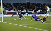 Gary Irvine scores Dundee's equaliser as St Mirren keeper Mark Ridgers appeals for offside -  St Mirren v Dundee, SPFL Premiership at St Mirren Park <br /> <br /> <br />  - &copy; David Young - www.davidyoungphoto.co.uk - email: davidyoungphoto@gmail.com