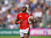 Kenya player Willie Ambaka scores the winning try in the game Kenya vs New Zealand All Blacks during the Cathay Pacific/HSBC Hong Kong Sevens festival at the Hong Kong Stadium, So Kon Po, Hong Kong. on 8/04/2018. Picture by Ian  Muir.