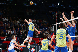 PARIS, FRANCE - SEPTEMBER 29: Tine Urnaut #17 of Slovenia spikes the ball during the EuroVolley 2019 Final match between Serbia and Slovenia at AccorHotels Arena on September 29, 2019 in Paris, France.  Photo by Catherine Steenkeste / Sipa / Sportida