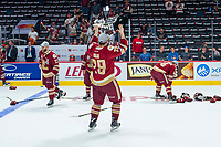 REGINA, SK - MAY 27:  Michal Ivan #29 of Acadie-Bathurst Titan hoists the memorial cup trophy after the win against the Regina Pats at Brandt Centre - Evraz Place on May 27, 2018 in Regina, Canada. (Photo by Marissa Baecker/CHL Images)