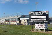 Skybet league 2 champions sign outside Sixfields stadium during the Sky Bet League 2 match between Northampton Town and Crawley Town at Sixfields Stadium, Northampton, England on 19 April 2016. Photo by Dennis Goodwin.