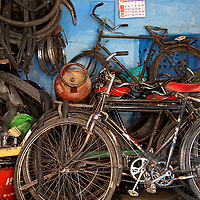 Bicycles, Parts and Tires In A Bicycle Repair Shop in Jodphur, Rajasthan, India