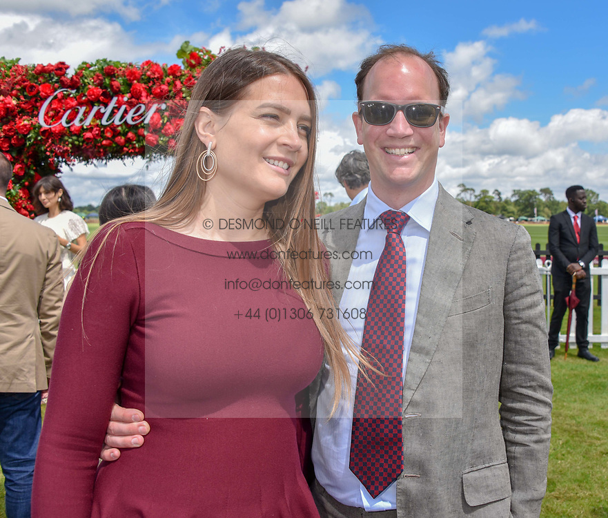 Guy Schwarzenbach and his wife at the Cartier Queen's Cup Polo 2019 held at Guards Polo Club, Windsor, Berkshire. UK 16 June 2019. <br /> <br /> Photo by Dominic O'Neill/Desmond O'Neill Features Ltd.  +44(0)7092 235465  www.donfeatures.com