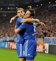 Chelsea's Branislav Ivanovic celebrates with Chelsea's Frank Lampard - Photo mandatory by-line: Joe Meredith/JMP - Tel: Mobile: 07966 386802 22/10/2013 - SPORT - FOOTBALL - Veltins-Arena - Gelsenkirchen - FC Schalke 04 v Chelsea - CHAMPIONS LEAGUE - GROUP E