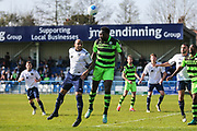Forest Green Rovers Manny Monthe(3) heads the ball during the Vanarama National League match between Guiseley  and Forest Green Rovers at Nethermoor Park, Guiseley, United Kingdom on 8 April 2017. Photo by Shane Healey.