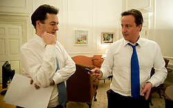 The  Prime Minister David Cameron in his office with George Osborne on the night he  became Britain's new Prime Minister, Tuesday May 11, 2010., Photo By Andrew Parsons/i-Images