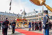 Koning Willem-Alexander en koningin Maxima tijdens Prinsjesdag. De koning zal hier de troonrede voorlezen aan leden van de Eerste en Tweede Kamer.<br /> <br /> King Willem-Alexander and Queen Maxima during Prinsjesdag. The king will read the speech to the members of the First and Second Chamber here.