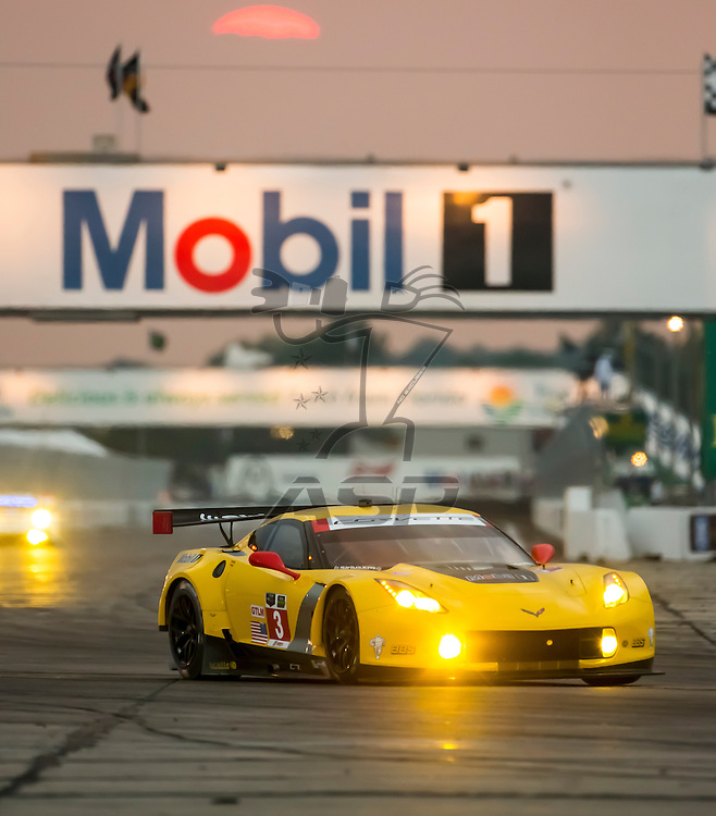 Sebring, FL - Mar 19, 2015:  The Corvette Racing races through the turns at 12 Hours of Sebring at Sebring Raceway in Sebring, FL.