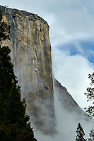 El Capitan  in Yosemite Valley on a stormy autumn day with low clouds. Image taken with a Nikon D300 camera and 80-400 mm lens (ISO 200, 80 mm, f/11, 1/800 sec).