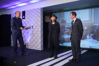Japanese fashion designer Yohji Yamamoto and Real's representative Emilio Butragueno during the presentation of the Real Madrid's new Champions League kit at the Santiago Bernabeu stadium in Madrid, Spain. May 26, 2013. (ALTERPHOTOS/Victor Blanco)