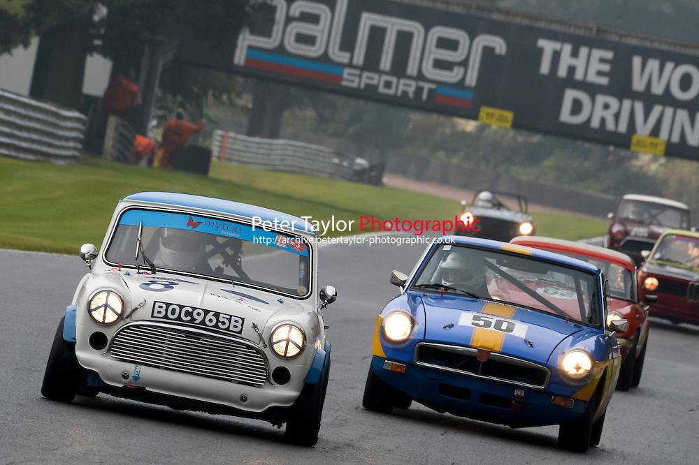 #8 Tonge / Winter Mini Cooper S 1380 during the CSCC Adams and Page Swinging Sixties at Oulton Park, Little Budworth, Cheshire, United Kingdom. October 15 2016. World Copyright Peter Taylor/PSP. <br /> Copy of publication required for printed pictures.  Every used picture is fee-liable. http://archive.petertaylor-photographic.co.uk